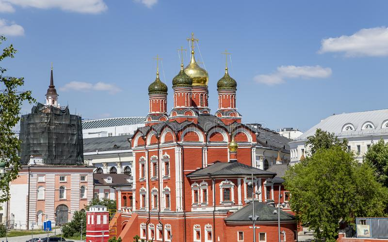 Varvarka street with cathedrals and churches - located near Red Square in Moscow, Russia. View from modern park Zaryadye stock photography