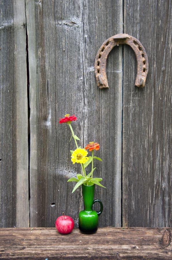 Vas för grönt exponeringsglas med blommor, äpplet och hästskon royaltyfri foto