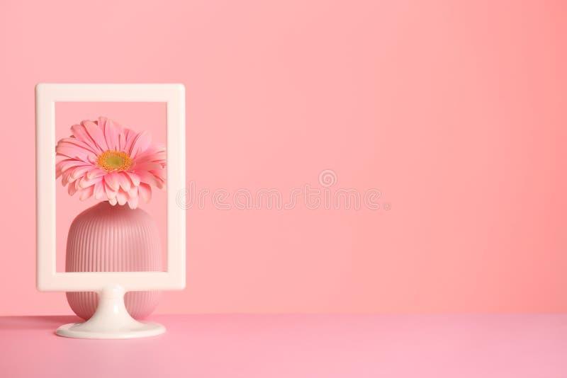Vas med blomma- och fotoramen på tabellen mot färgbakgrund, utrymme för text arkivfoto