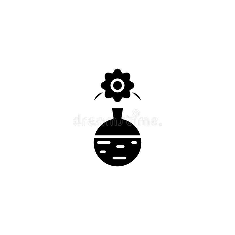 Vas med blomman i begrepp för inresvartsymbol Vas med blomman i symbolet för inrelägenhetvektor, tecken, illustration stock illustrationer