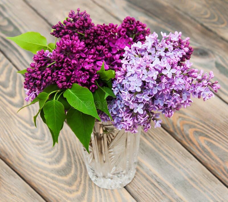 Vas med lila blommor royaltyfri fotografi