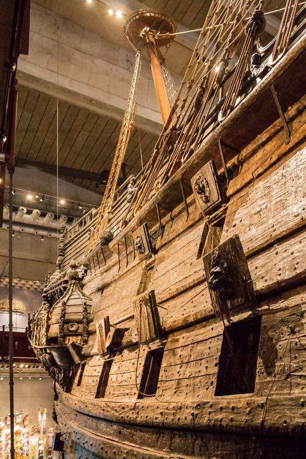 Vasa Dziejowy Drewniany statek fotografia stock