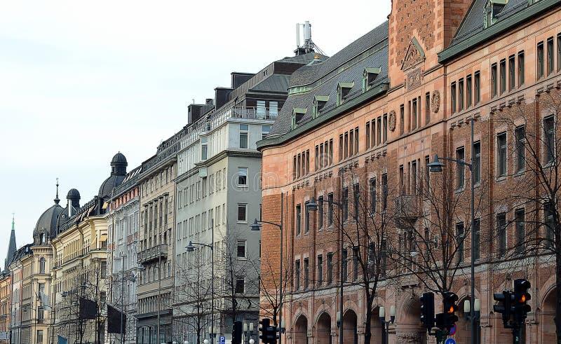 Vasagatan, Stockholm, Sverige och den tidigare centrala stolpen - kontor arkivbild