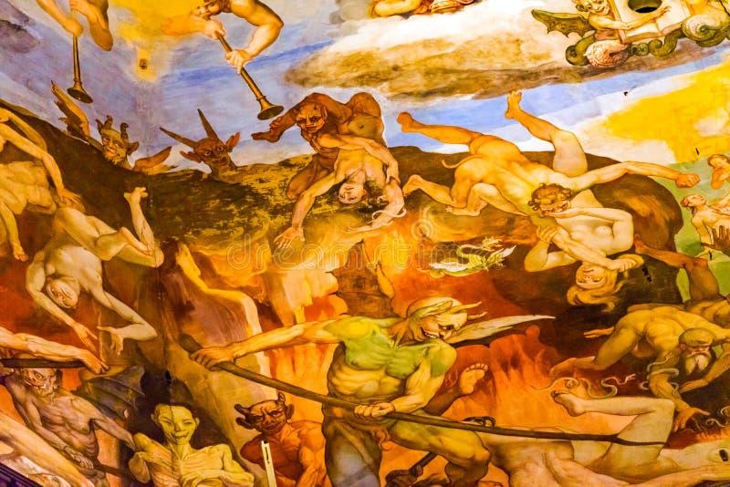 Vasari fresku diabły Trwają osądzenie kopuły Duomo katedrę Florencja zdjęcie royalty free