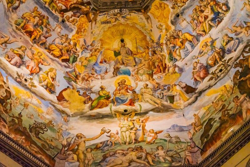 Vasari fresku jezus chrystus kopyto_szewski osądzenia kopuły Duomo Katedralny Florencja Włochy obrazy stock
