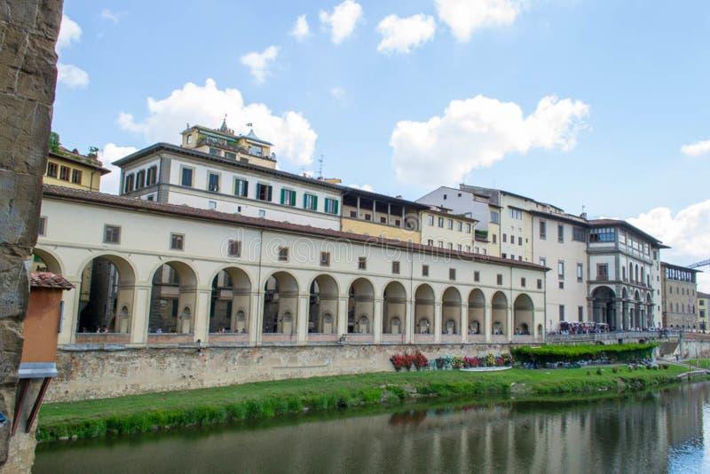 Коридор Vasari от галереи Ufizzi к Ponte Vecchio стоковое фото