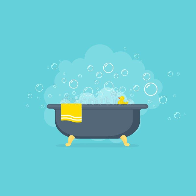 Vasca con le bolle della schiuma e l'anatra di gomma gialla illustrazione vettoriale