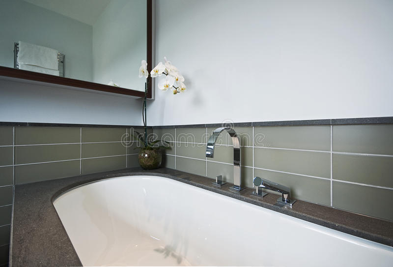 Vasca da bagno di lusso con rivestimento di pietra immagine stock immagine di leva - Rivestimento vasca da bagno ...