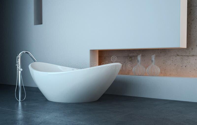 Vasca da bagno moderna davanti alla parete bianca illustrazione di stock illustrazione di for Vasca da bagno moderna