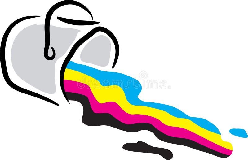 Vasca della vernice di C y m. K illustrazione di stock