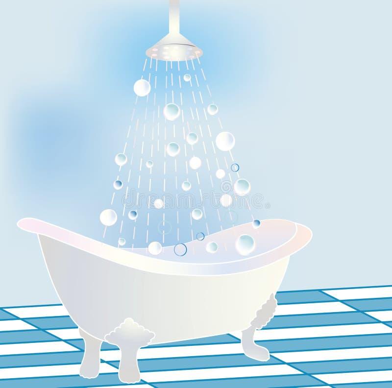 Vasca stilizzata della branca con l'acquazzone illustrazione vettoriale