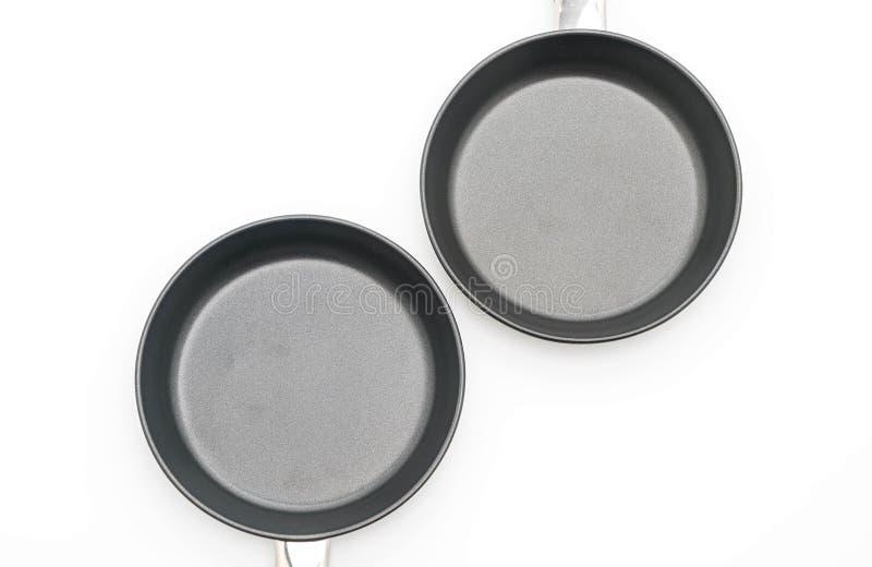Vaschetta di frittura isolata su bianco fotografie stock