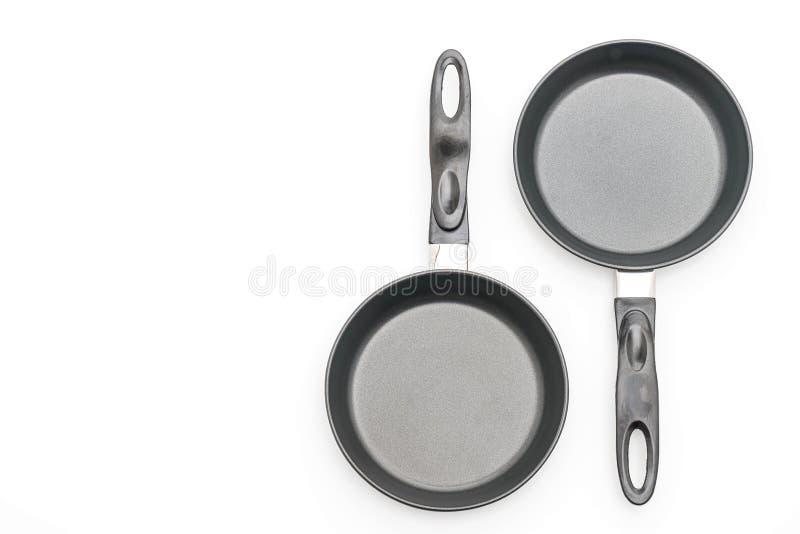 Vaschetta di frittura isolata su bianco fotografia stock libera da diritti