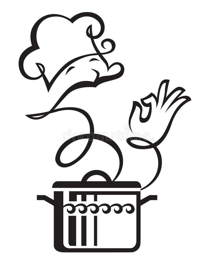 Vaschetta e cuoco illustrazione vettoriale