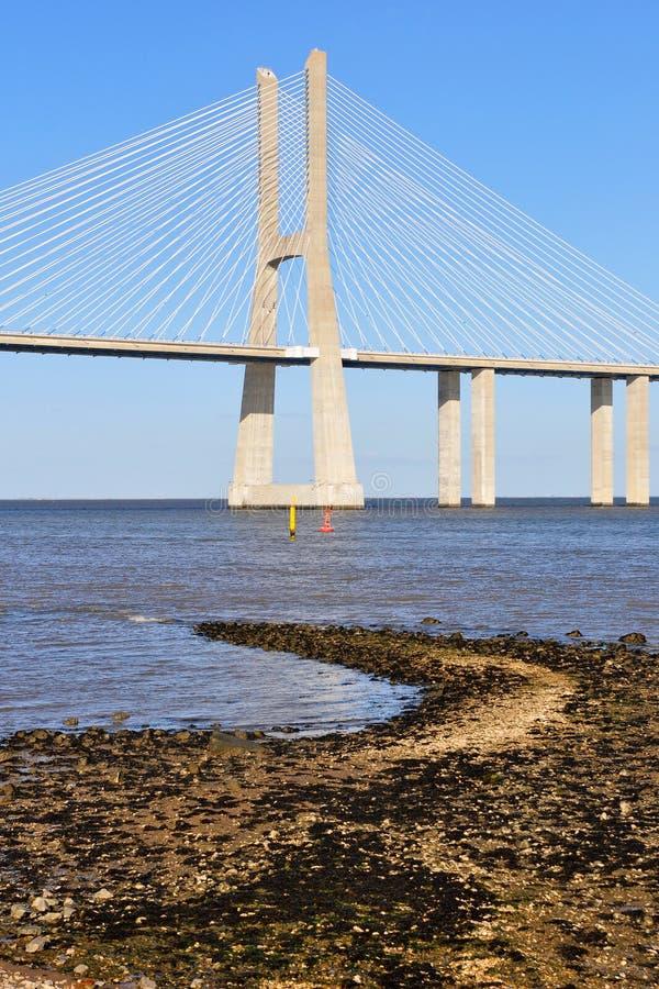 Download Vasco da Gama Bridge stock photo. Image of tejo, water - 21920070