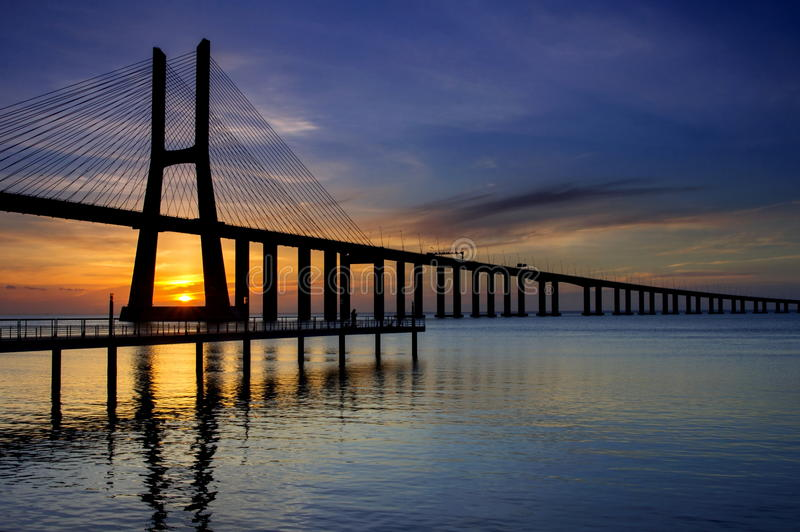 Download Vasco da Gama bridge stock image. Image of river, europe - 25215133