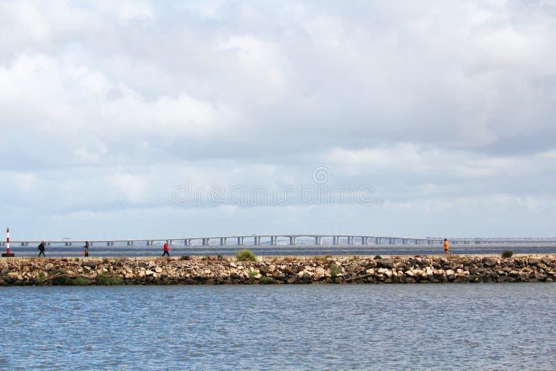 Vasco da Gama Bridge, Lisboa, vista das nações estaciona fotografia de stock royalty free