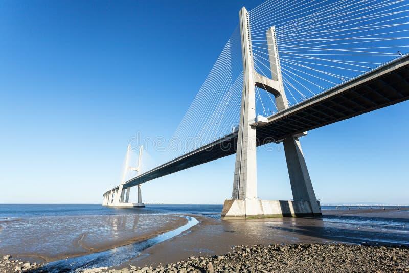 Vasco da Gama bridge in Lisbon, Portugal. Photo afternoon on a sunny day royalty free stock photography