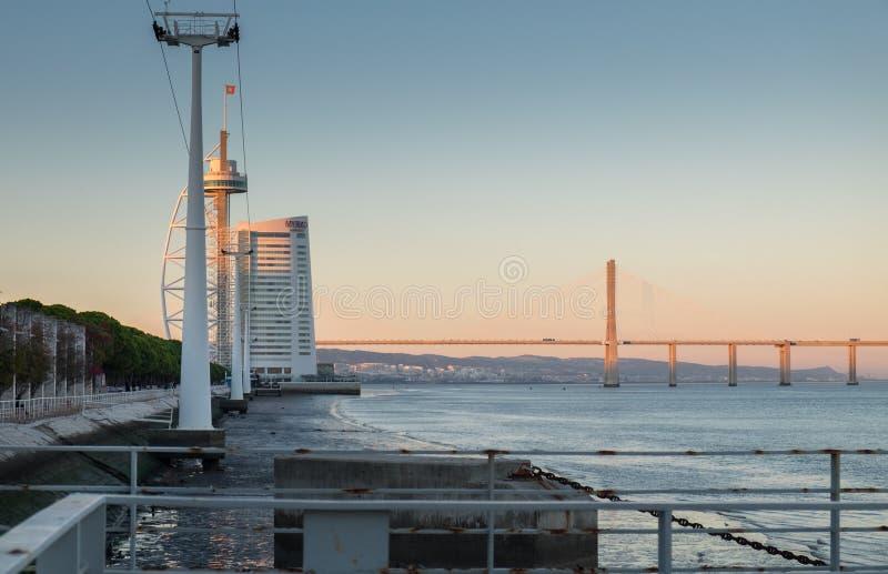 Vasco da Gama Bridge Longest Bridge i Europa royaltyfri bild