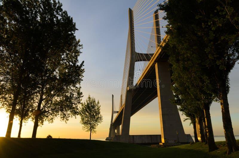 Vasco Da Gama Bridge At Sunrise, Lisbon Royalty Free Stock Photography