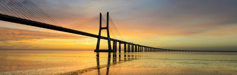 Vasco da Gama bridge at sunrise, Lisbon royalty free stock photos