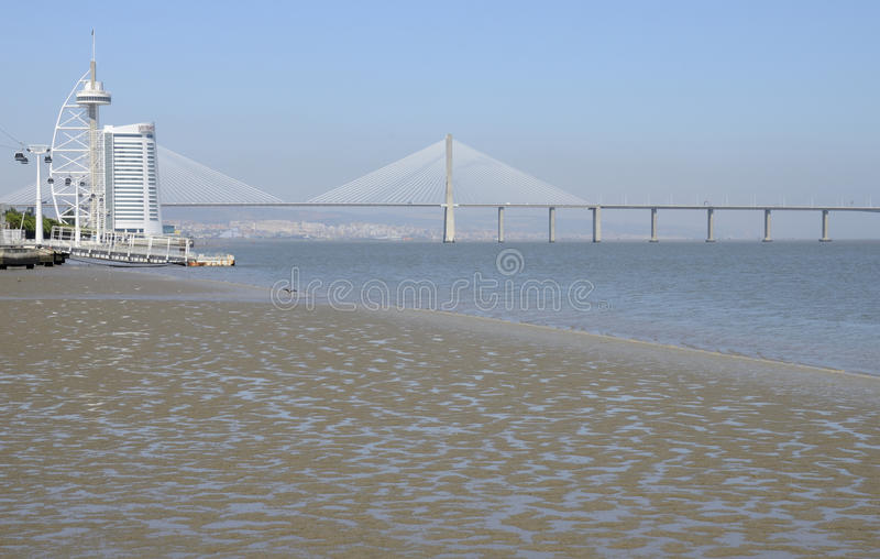 Download The Vasco Da Gama Tower  And  Bridge Editorial Photo - Image: 34256196