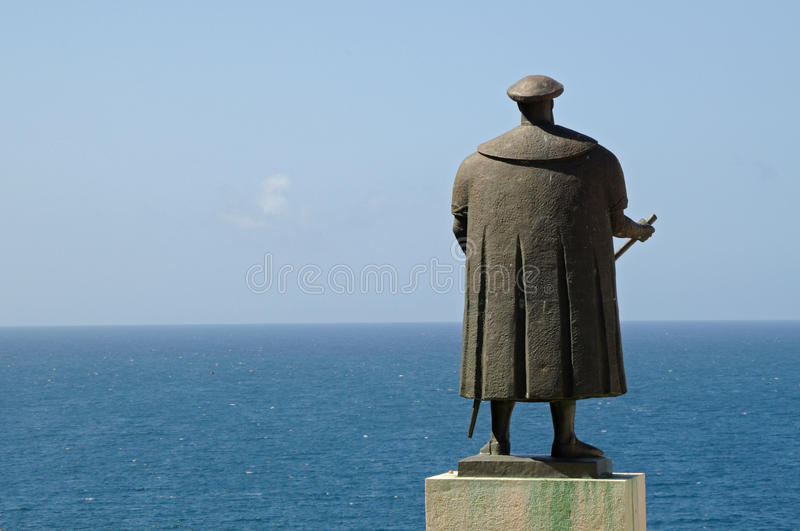 Vasco de Gama and the Ocean. Statue of Vasco de Gama, city of Sines, Portugal. Discovery of the spice route to the Indies stock photo