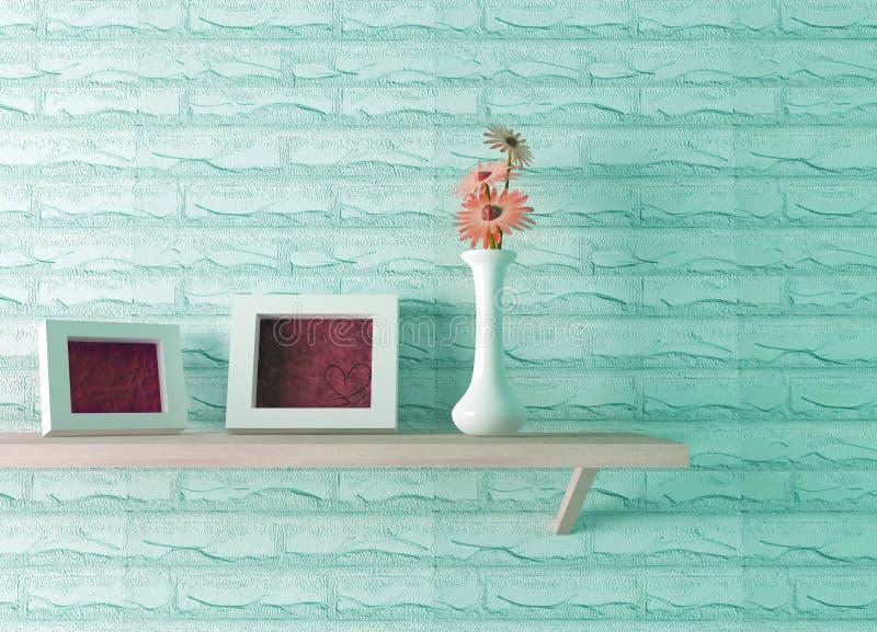Vase à céramique avec la fleur et trames sur l'étagère illustration de vecteur
