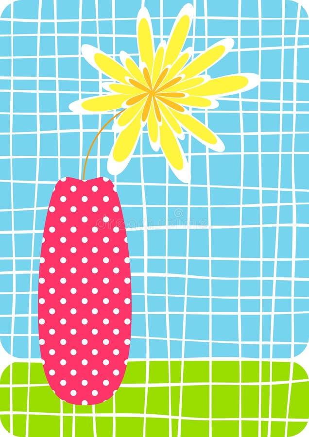 vase χαιρετισμού λουλουδιών καρτών διανυσματική απεικόνιση