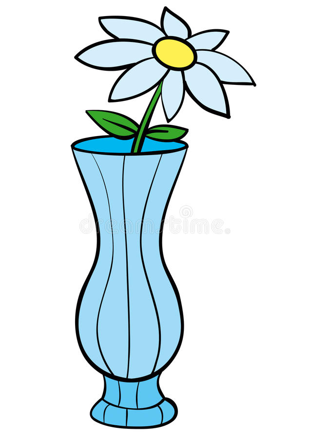Vase. Glass vase with a single flower stock illustration