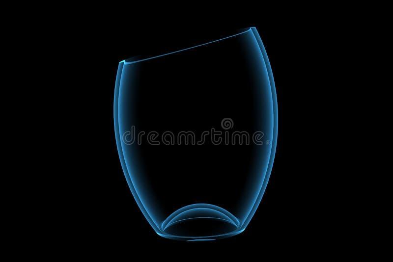 Vase 3D xray blue