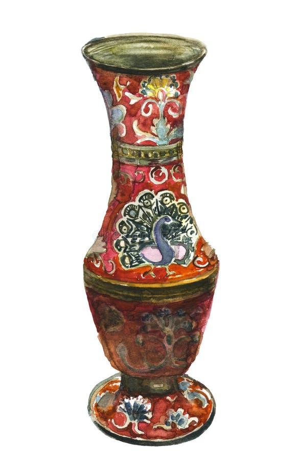 Vase antique avec le paon illustration libre de droits