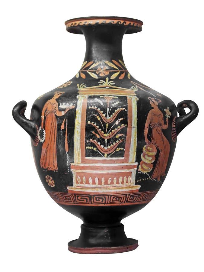 Vase au grec ancien d'isolement sur le blanc photos stock