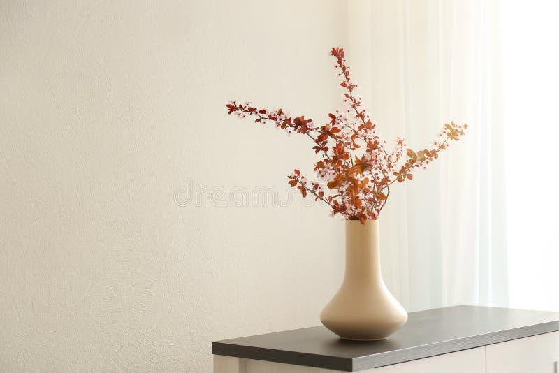 Vase avec de belles branches se développantes sur l'armoire photo stock