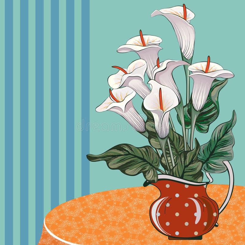 Vase avec des callas sur la table image stock