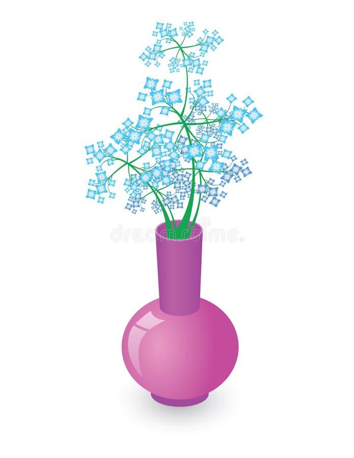 Vase avec les fleurs bleues illustration stock