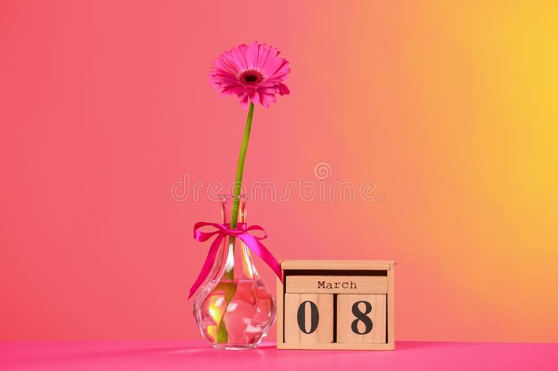 Vase with beautiful flower and wooden block calendar on table against color background. International Women`s Day royalty free stock images