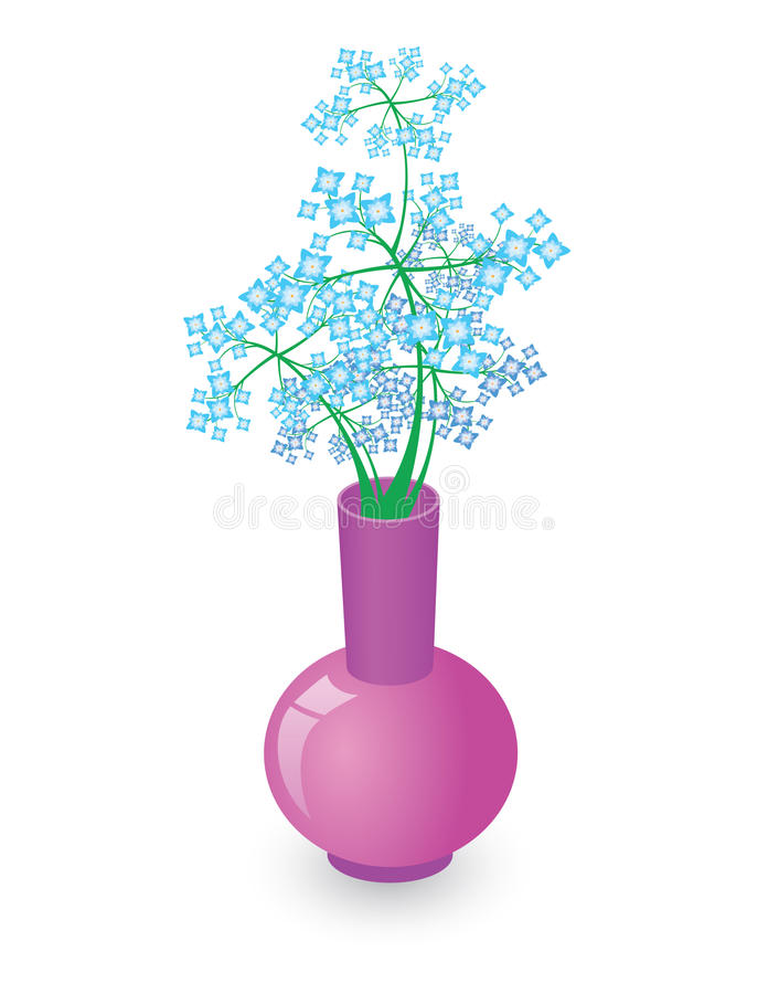 Download Vase with blue flowers stock vector. Image of color, background - 19217410