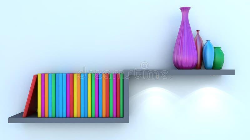 Vase and book decorated on shelf closeup stock illustration