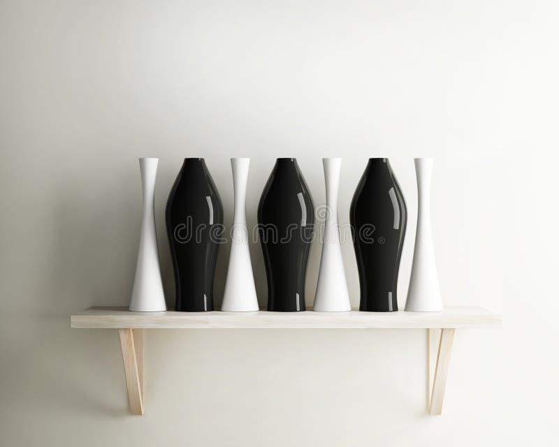 Vase ceramic and wood shelf decorate of interior stock illustration