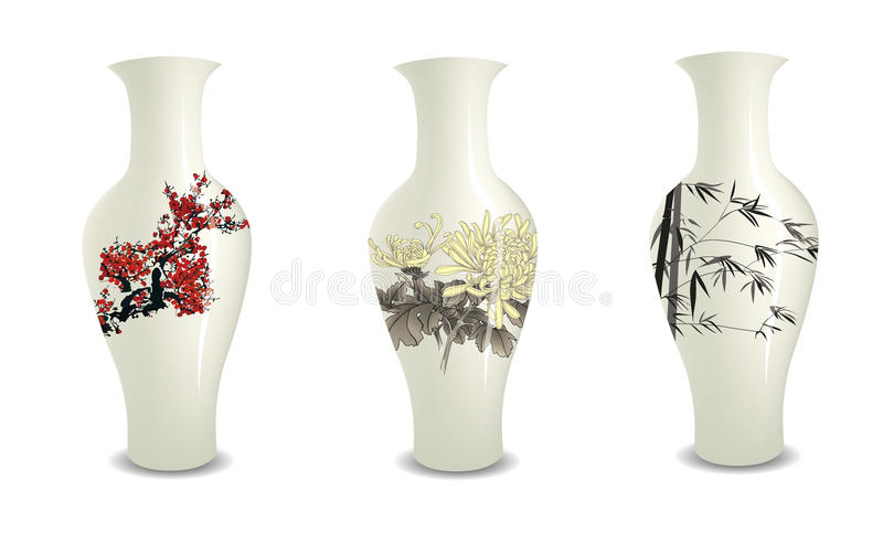 Vase. Chinese vase collection nature painting vector illustration