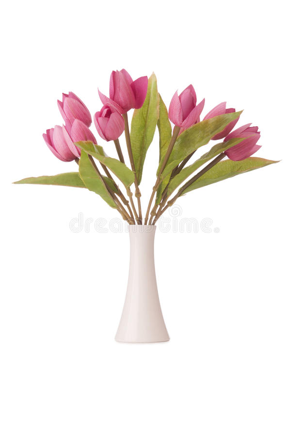 Vase with colourful tulips on white stock photography