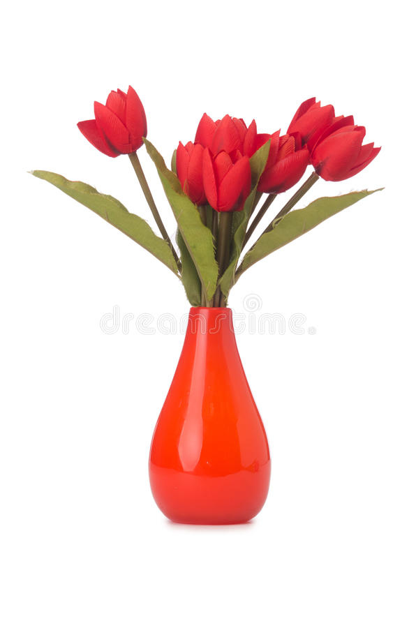 Vase with colourful tulips on white royalty free stock photography