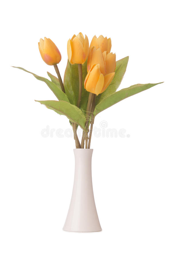 Vase with colourful tulips on white stock photo