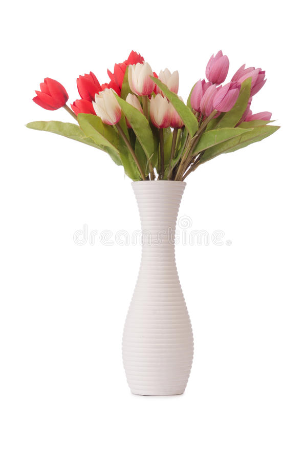 Vase with colourful tulips on the white stock photography