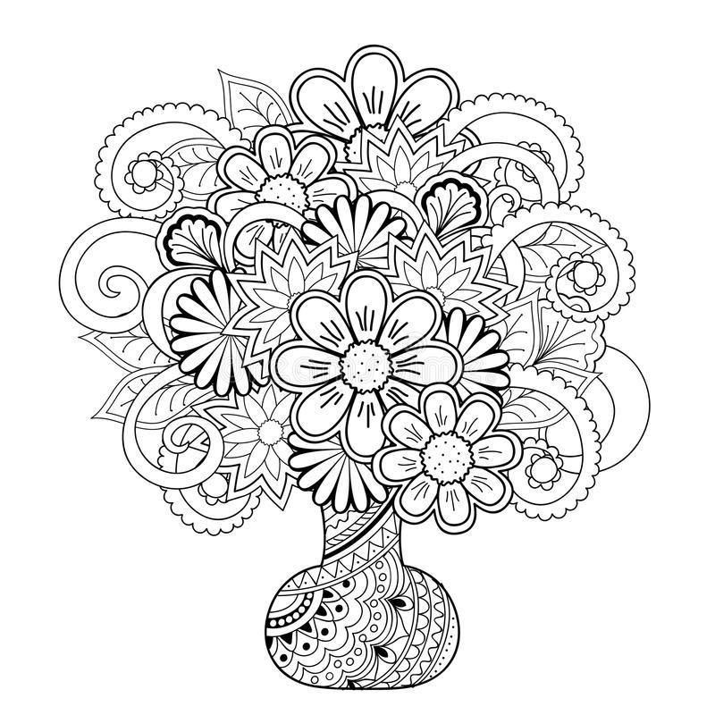 Vase with doodle flowers. Hand drawn monochrome print with doodle flowers in the vase on the white. Boho style. Image for adult and children coloring books vector illustration