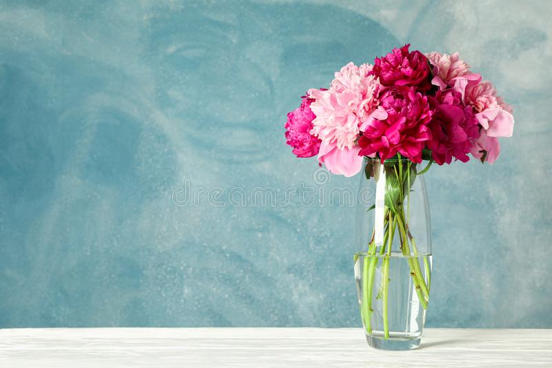 Vase en verre avec le bouquet de belles pivoines sur la table blanche sur le fond bleu image stock