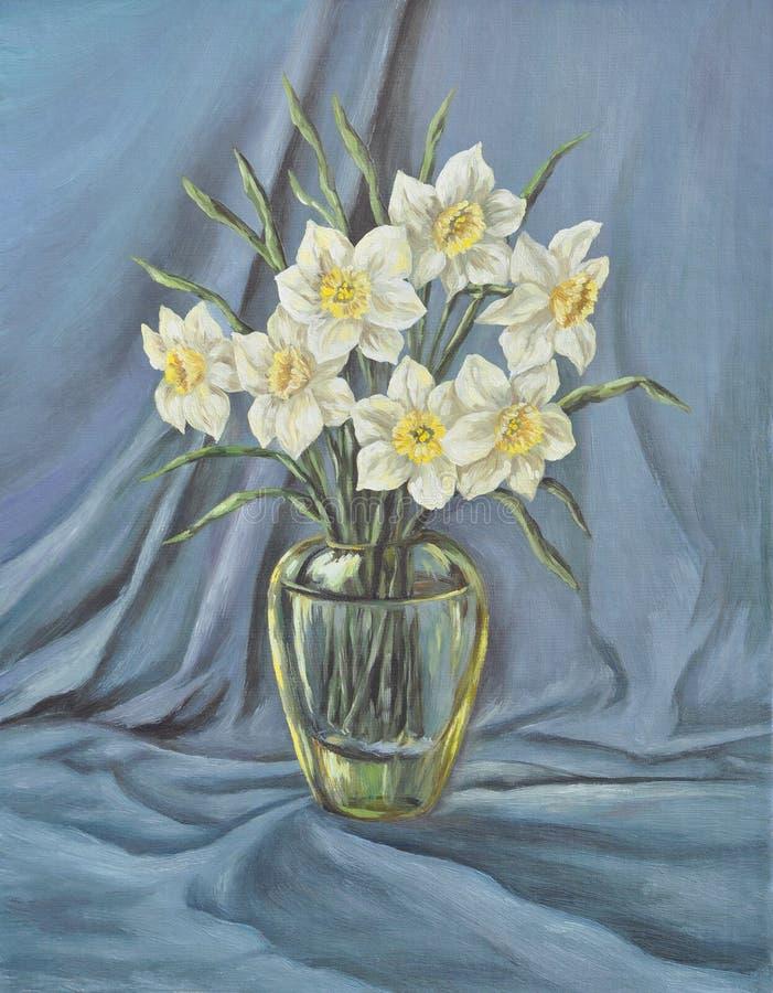Vase en verre avec le narcisse sauvage illustration libre de droits