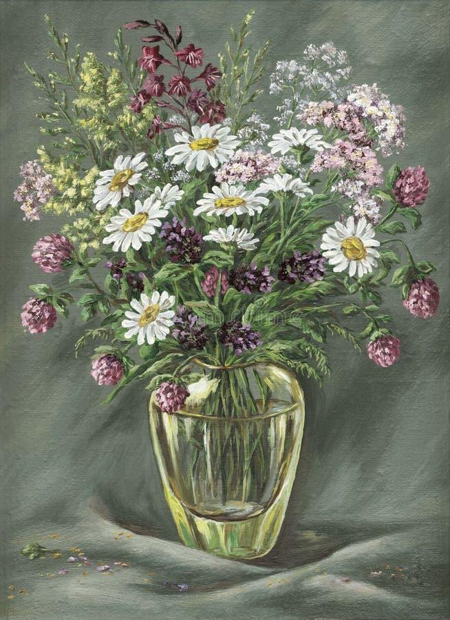 Vase en verre avec les fleurs sauvages illustration stock