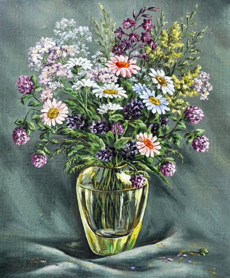 Vase en verre avec les fleurs sauvages illustration de vecteur